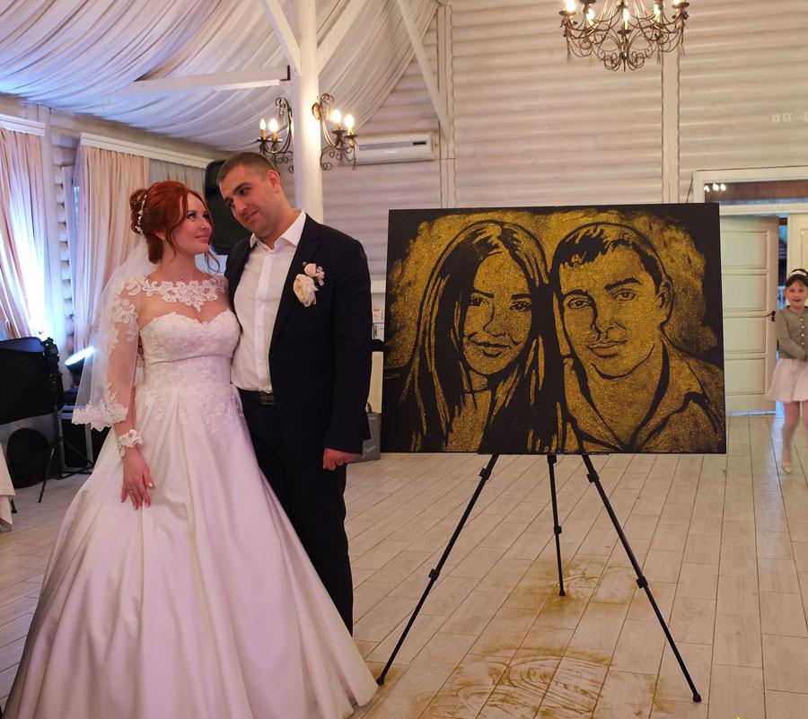 Портрет золотом на свадьбу фото 2